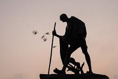 Gandhi Statue, Chennai (Geraint Rowland Photography) Tags: statue memorial ghandi walkingstick birds walking history marinabeach colonialism landscape travelphotography wwwgeraintrowlandcouk gandhi