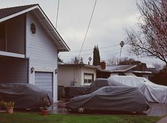 Sunnyvale, California (bior) Tags: pentax645nii pentax645 6x45cm ektachrome e200 kodakektachrome slidefilm mediumformat 120 sunnyvale street rain suburbs driveway cars yard