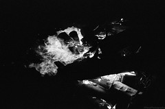 Through the fire and flams (GPhace) Tags: 2019 35mm bw blackandwhite gregsbachelorweekend kodak longexposure minoltax700 spring tmaxx3200 upstatenewyork firepit nightphotography nightshots sizz