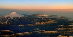 Mt Rainier from the clouds (javi.velazquez) Tags: rainier plane clouds range flying snot whasington seattle sky sunset mountains snow