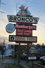 Bronco's Hamburgers, Omaha, NE (Robby Virus) Tags: omaha nebraska ne broncos hamburgers fast food restaurant sign signage bronco billy barnes 1959 serve urself save drive thru