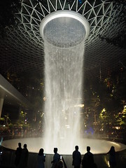 Waterfall at The Jewel, Changi Airport (Hammerhead27) Tags: shopping mall architecture steel glass people olympus artificial high water lights airport tourist show amazing new waterfall attraction terminal singapore changiairport thejewel