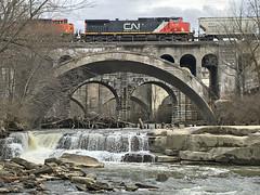 Splash Brothers (craigsanders429) Tags: canadiannational canadiannationalmotivepower rockyriver bereaohio bereafalls norfolksoutherntrains nschicagoline water waterways waterfall bridges railroadbridges river