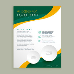 green and yellow wavy shape business brochure flyer layout template (diptasaha.lpu.cse) Tags: business flyer brochure leaflet corporate template presentation layout page banner publication promotional modern company organization print branding identity magazine cover document catalog creative report office card marketing poster advertise design annual
