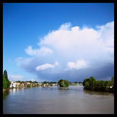 View from Kew Bridge (Jamie Langford) Tags: rolleiflex velvia50 t35 film analogue cloud sky london kew brentford kewbridge