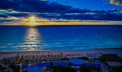 Sunrise over the Caribbean Sea viewed from Live Aqua Resort Cancun Mexico (mbell1975) Tags: cancún quintanaroo mexico sunrise over caribbean sea viewed from live aqua resort cancun the beach hotel along yucatán yucatan water ocean atlantic meer mer surf wave blue clouds cloud ray