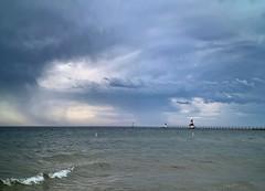 Painted Skies (mswan777) Tags: beach shore coast water horizon pier lighthouse sky cloud storm rain weather blue dark threatening apple iphone iphoneography mobile st joseph michigan gray evening