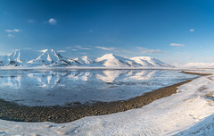 Adventdalen, on the island of Spitsbergen in Svalbard (Kadu Flyer) Tags: svalbard spitsbergen norway snow mountains sea ice valley sky reflection longyearbyen