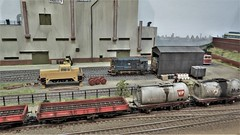 Kingsbey. (ManOfYorkshire) Tags: kingsbey scale model railway train layout exhibition show derby 2019 class08 08419 shunter mixed freight passing stabled purring industrial loco locomotive shed yard britishrail