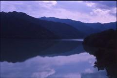 (✞bens▲n) Tags: e100g kodak carl zeiss 45mm f2 film analogue slide water reflection gunma japan mountains contax g2
