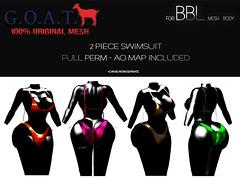 G.O.A.T. BBL 2 PIECE SWIMSUIT FULL PERM (Key Stackz) Tags: goat bbl 2 piece swimsuit full perm bblmeshbody bblmesh originalmesh fashionaddicts slfashion meshfullperm