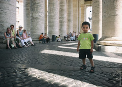 The Youngest Vatican City Visitor (thedot_ru) Tags: vaticancity italy rome boy kid portait portraiture fullbody streetphotography street wideangle pillars shadows travel travels travelling trip tourism tourist adventure wanderlust europe canon20d 2005