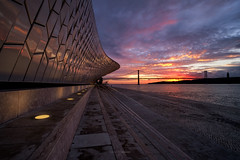 Sunrise @ MAAT (CResende) Tags: maat museum fuji cresende sunrise lisbon visitportugal portugal river tagus city cityscape travel color bridge morning clouds sun view architecture fujifilm sky daybreak light