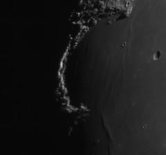 20190514 20-05UT The Golden Handle and Cassini's Moon Maiden (Roger Hutchinson) Tags: moon london montesjura mareimbrium sinusiridum space astronomy astrophotography celestron celestronedgehd11 zwo asi174mm televue powermate goldenhandle cassinismoonmaiden