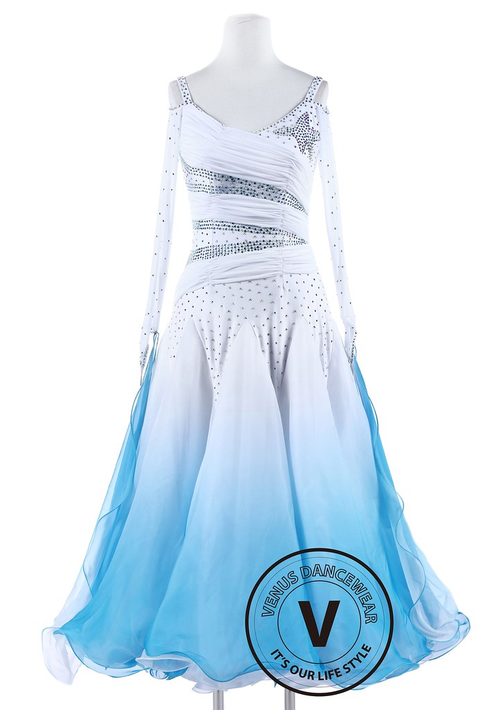 4ac98ab04 White and Blue Gradational Ballroom Competition Standard Waltz Smooth  Foxtrot Women Dance Dress Collection (Venus