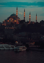 Ramadan in Istanbul (sdhaddow) Tags: istanbul turkey ramazan ramadan mosque night city skyline dusk minaret water
