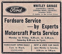 1972 ADVERT - WHITLEY GARAGE FORD DEALERS LONDON ROAD COVENTRY (Midlands Vehicle Photographer.) Tags: 1972 advert whitley garage ford dealers london road coventry