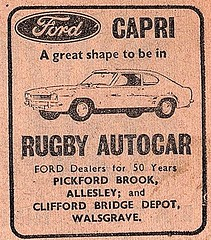 1972 ADVERT - RUGBY AUTOCAR FORD DEALERS ALLESLEY AND WALSGRAVE (Midlands Vehicle Photographer.) Tags: 1972 advert rugby autocar ford dealers allesley and walsgrave capri mk1 mark one