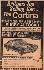 1972 ADVERT - RUGBY AUTOCAR FORD DEALERS ALLESLEY (Midlands Vehicle Photographer.) Tags: 1972 advert rugby autocar ford dealers allesley cortina mk3 mark three