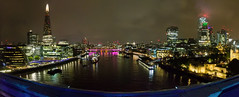 London cityscape from Tower Bridge (Mister Electron) Tags: panorama panoramic stitched evening night theshard walkietalkie londonmayor gherkin hmsbelfast