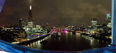 Panoramic from Tower Bridge (Mister Electron) Tags: apple appleiphonese england london mobile riverthames thames uk architecture capital city iphonese mobilephone phonecam river urban panorama panoramic stitched evening night theshard walkietalkie londonmayor gherkin hmsbelfast