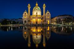 Karlskirche (dadudawien) Tags: nacht dämmerung karlskirche wien wienbeinacht lichtstimmung pentaxk70 tamron1024mm pentax farben schönefarben abendstimmung vienna night blauestunde bluehour