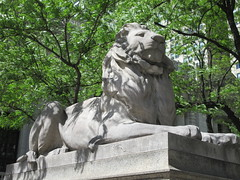 2019 Lion Under Shady Branches New York Public Library 8757 (Brechtbug) Tags: 2019 lions new york public library statues lion hanging shadows 42nd street 5th avenue nyc 05182019 may springtime soon spring weather eventually animal cat feline statue sculpture art cats ave st gargoyles gargoyle reclining repose resting facade stairs front entrance