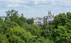 Blick über die Baumkronen (KaAuenwasser) Tags: baumkrone baum bäume karlsruhe zoo oben hubsteiger ausblick blick sehen grün stadt innenstadt gebäude schlosskarlsruhe schloss strasen himmel landschaft mai 2019