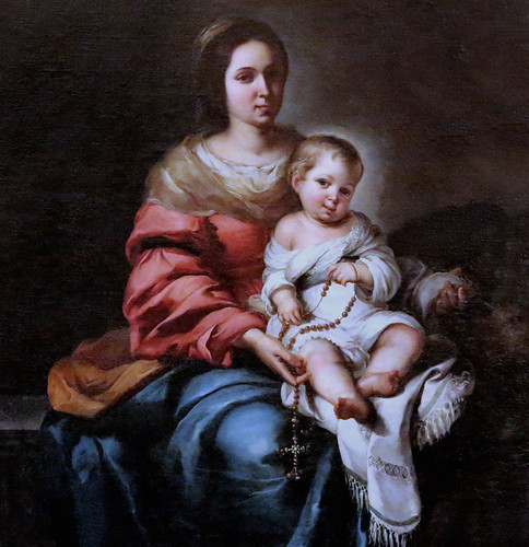 IMG_9326BA Bartolome Esteban Murillo. 1618-1682. Séville Vierge à l'Enfant. Dite la Madone du Rosaire.  Virgin and Child. Tell the Madonna of the Rosary. Florence. Palazzo Pitti. Galleria Palatina.