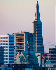 The Transamerica Pyramid Tower Rises Above San Francisco (AvgeekJoe) Tags: 100400mmf563 california d5300 dslr nikon nikond5300 sanfrancisco sigma sigma100400mmf563 sigma100400mmf563dgoshsmcontemporary transamericapyramid usa skyscraper sunset telephotolens