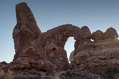 Turret Arch, Arches National Park (aud.watson) Tags: america northamerica us usa utah moab archesnationalpark windows northwindow southwindow turretarch desert sandstone sand rock arch arches spire spires fin fins erosion sunset dusk