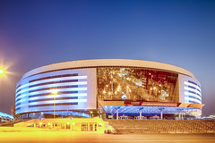 Minsk- Belarus, April 23, 2019: Minsk Arena Complex as the Main Sport Venue with Light Bluish Night Illumination for Second European Games in April 23, 2019 in Minsk (DmitryMorgan) Tags: 2019 belarus hdr minsk minskarena republicofbelarus architecture arena bluehour building championship city complex construction design dome editorial europe europeangames exterior facade famous futuristic game glass ice modern new night reflection round sky sport stadium travel twilight urban venue