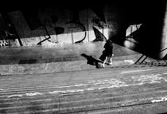 en-bas-des-marches (laurent.triboulois) Tags: paris street rue city downtown women ombre blackandwhite noir blanc