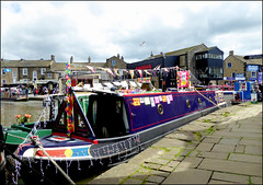 Skipton Waterways Festival 2019. (Country Girl 76) Tags: skipton waterways festival 2019 boats decoration people flags towpath north yorkshire