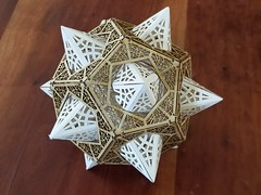 Star Orb Model Kit - Thomas Houha Designs (Happy Monkey) Tags: stellated dodecahedron stellateddodecahedron model kit laser cut lasercut paper wood geometry geometric polyhedron star orb starorb thomashouha thomashouhadesigns