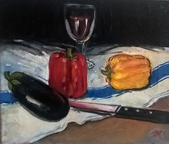 My favorite vegetables (monique shaw) Tags: vegetable red pepper orangepepper cloth ms