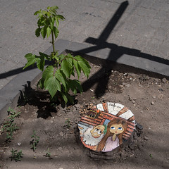 While there's youth, there's hope! (OzzRod (on the wallaby)) Tags: pentax k1 hdpentaxdfa28105mmf3556 street footpath tree stump art hope yerevan armenia square