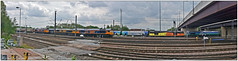 Doncaster Decoy Panorama (Mark's Train pictures) Tags: doncasterdecoy gbrailfreight gbrf gbrf66 gbrfclass66 gbrfdoncaster gbrfclass60 66730 66705 66757 60087 66711
