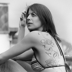smokin' hot (frax[be]) Tags: fuji 50mm portrait girl tattoo noiretblanc monochrome grain blackandwhite bw