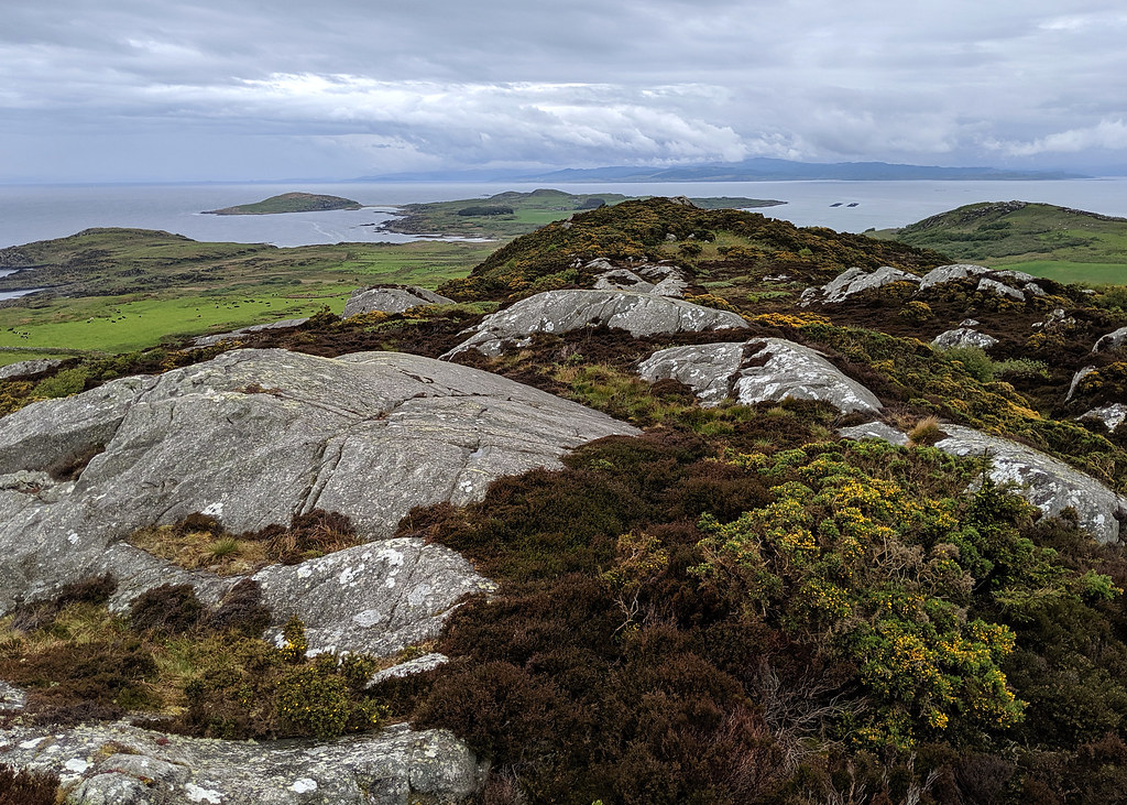 Lunch on top of Creag Bhan - Gigha's highest point - looking north towards the twin beaches sheltering under the low cloud that stopped us flying