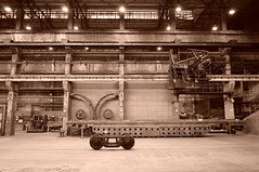 """China Shenyang Museum of Industry featuring factory floor replica - """"All Geared Up"""" (moreska) Tags: china shenyang museum industry gritty factory industrial workshop 1960s blackandwhite sepia monochrome indoor trail rail pulleys heavy sixties steel iron foundry liaoning province northeast replica history museums oldschool maoera retro travel tourism middle kingdom asia"""