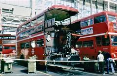 London transport Aldenham works accident repair shop 1980's. (Ledlon89) Tags: rm routemaster aec parkroyal lt lte bus buses transport london londonbus londonbuses aldenhamworks overhaul vintagebuses londontransport
