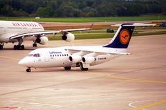 Lufthansa CityLine Avro RJ 85; D-AVRQ@ZRH;11.10.1997 (Aero Icarus) Tags: zrh lszh zürichkloten zürichflughafen zurichairport plane aircraft flugzeug