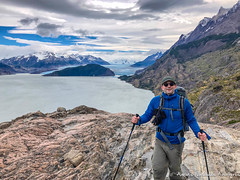 Selfie overlooking Glacier Grey along the W Trek at Torres del Paine (adventurousness) Tags: nationalpark parquenacionaltorresdelpaine torresdelpaine chile glacier hiking mountains outdoors patagonia hiker nature trekker trekking