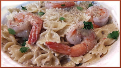 A-Mother_Sauce (Guyser1) Tags: food béchamelsauce shrimp pasta farfalle westyellowstone canonpowershots95 pointandshoot
