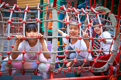 Playground Monkeys 02 (ArdieBeaPhotography) Tags: playground slide climbing tumble girl boy child preteen young kindergarten kids little pretty cute rope cords frame tunnel friends together tights rainbow dress skirt gauzy tshirt white purple plastic pout tongue lips play fun laugh pose tamronspaf2875mmf28xrdildasphericalif