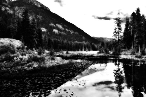 A Minimalist Black & White of Howard Lake (North Cascades National Park Service Complex)