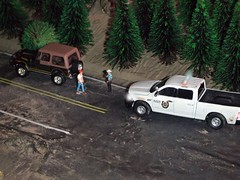 Tree VS Jeep. 5-20-2019 (THE RANGE PRODUCTIONS) Tags: greenlight ram1500 jeepcj7laredo hoscalefigures 164scale diecast dioramas diecastdioramas dodge display model toy forest