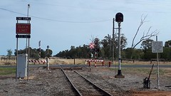 The Gums - a station on the Glenmorgan branch line in Queensland. (Big Brisbane Boy) Tags: australia queensland thegums level crossing queenslandrailways qr road signals block limit sign