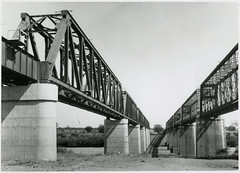 Macrossan Bridges, c1987 (Queensland State Archives) Tags: bridge bridges queensland qld charterstowers flood plain river railbridge railway archival architecture engineering 1987 1980s